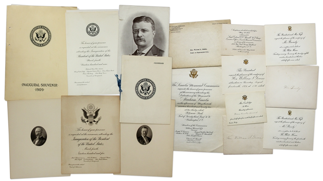 White House Invitations and Inaugural Documents From Presidents McKinley, Roosevelt, Taft, Wilson and Coolidge -- Including Invitation to Dedication of Lincoln Memorial