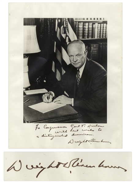 Dwight D. Eisenhower Signed 11'' x 14'' Photo -- ''...with best wishes to a distinguished American...''