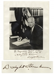 Dwight D. Eisenhower Signed 11 x 14 Photo -- ...with best wishes to a distinguished American...