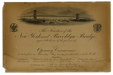 1883 Invitation to the Brooklyn Bridge Opening Ceremonies