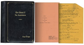 Lloyd Bridges Leather Bound Personal Copy of His Mafia Movie Script -- Along With Crew Sheet for Seinfeld From 1997 -- From Estate of Lloyd Bridges