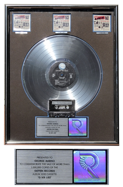 Guns N' Roses RIAA Multi-Platinum Record Award for ''G N' R Lies'' -- From George Marino Estate