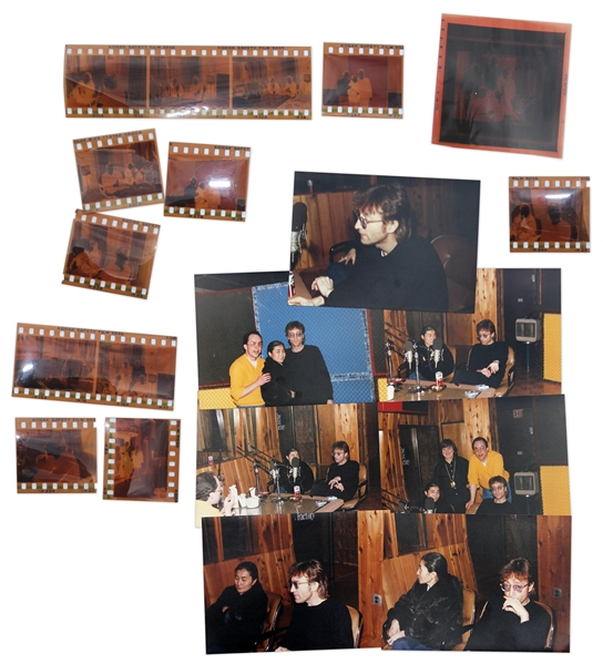 John Lennon & Yoko Ono Lot of 33 Negatives From The Final Interview -- Unpublished Photos Taken 2 Days Before His Death at an Interview at the Hit Factory in New York -- With Copyright