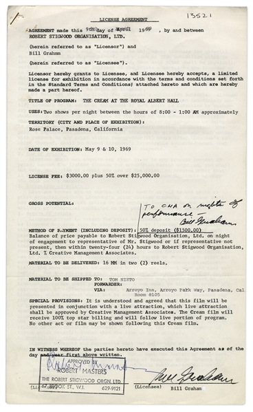 Bill Graham Twice-Signed Contract for a 1969 Cream Concert -- Countersigned by Iconic Manager Robert Stigwood