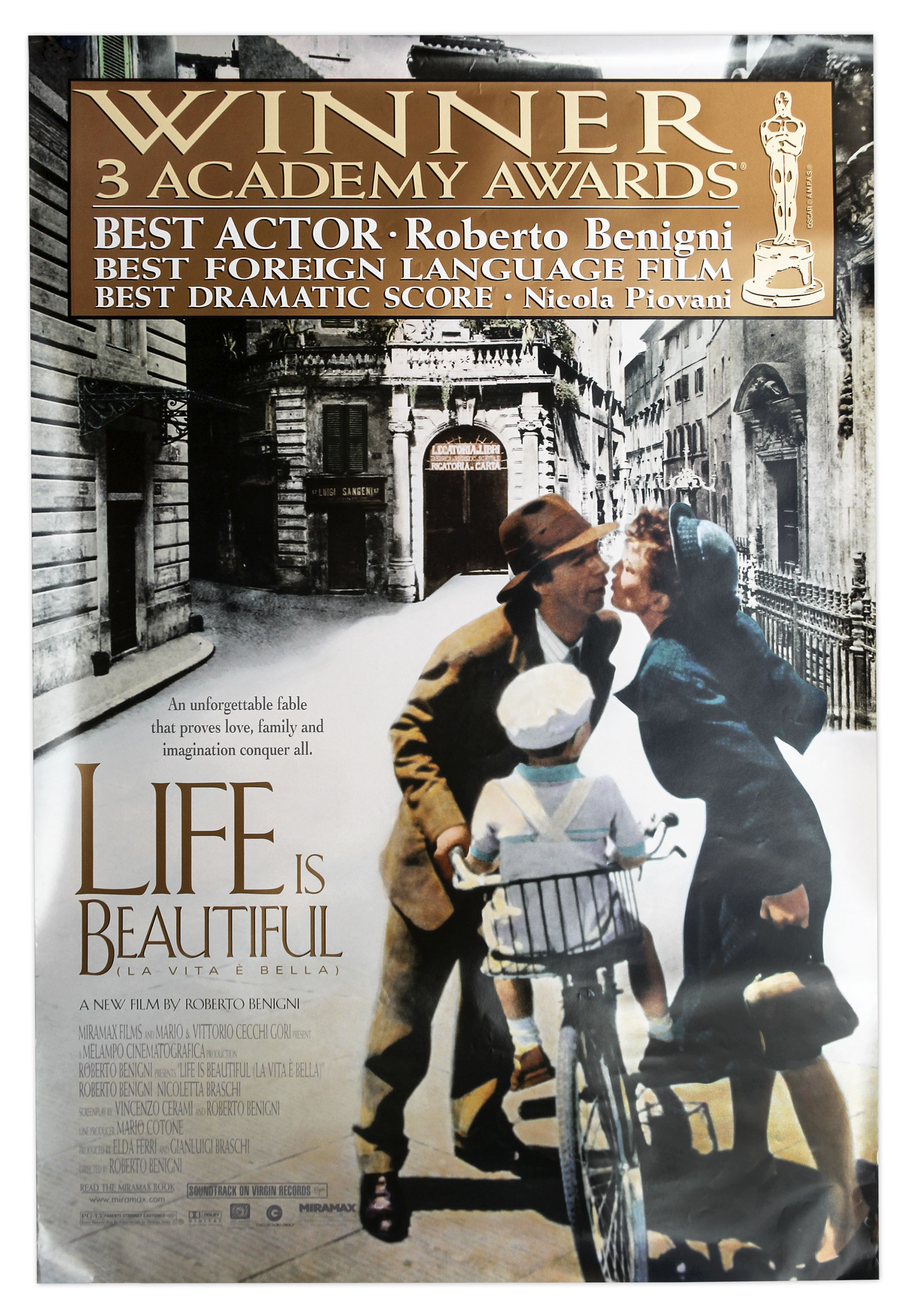 Lot Detail Academy Awards Poster For 1998 Film Life Is Beautiful