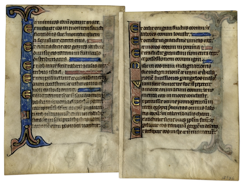 13th Century Hand-Painted Psalter Leaf
