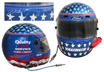 Dale Jarrett Race-Worn & Signed Helmet -- With LOA From Jarrett