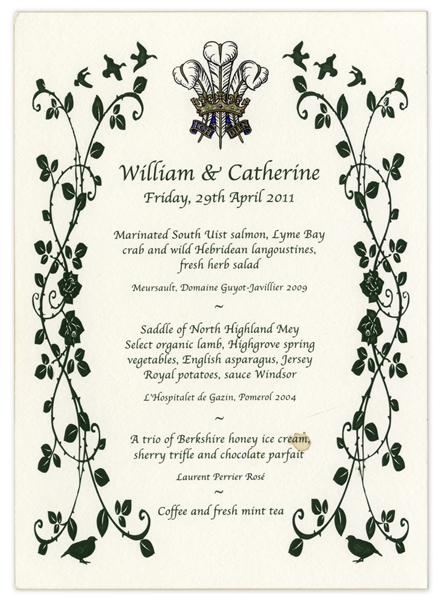 William & Kate Royal Wedding Dinner Menu