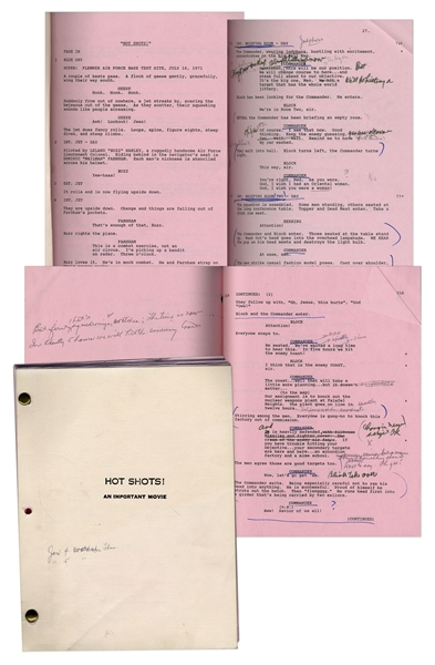 Lloyd Bridges' Personal Copy of ''Hot Shots!'' Movie Script -- With Hand Annotations by Bridges