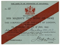 1933 British Reception Invitation for the King of Iraq -- Invitation Was Given to Lord Stanley