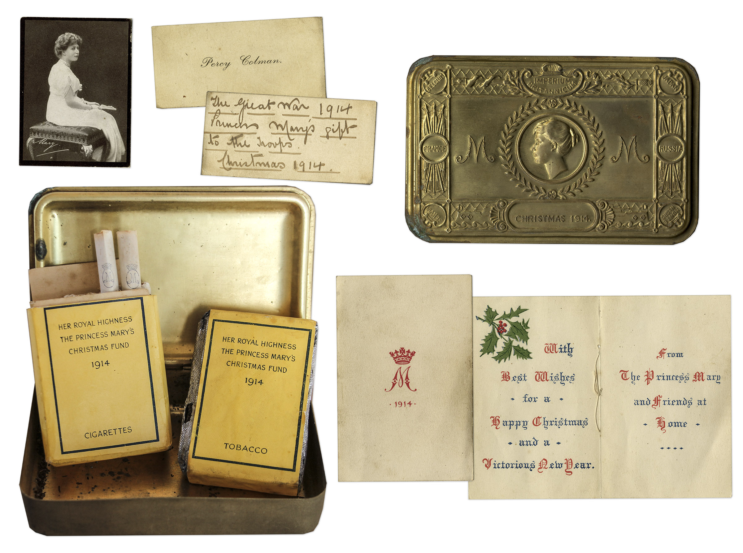 Lot Detail - Princess Mary Christmas Tin for WWI Troops in 1914