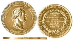 24k Gold Franklin Institute Elliot Cresson Medal -- Awarded to Physicist Leon Lederman, Author of The God Particle in 1976