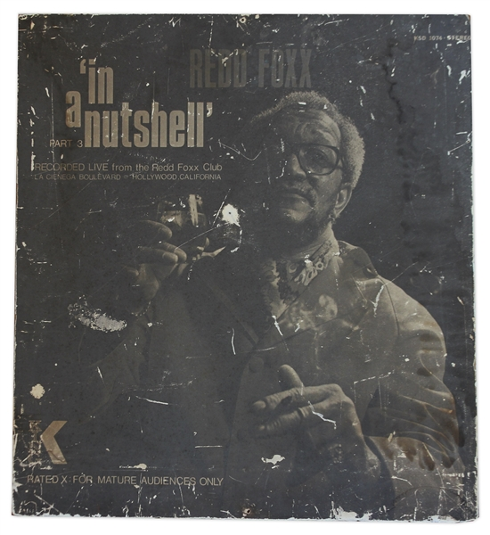 Poster for Redd Foxx's 1975 Comedy Album ''In a Nutshell Part 3'' -- Made of Wood, 30'' x 33'' -- Chipping to Picture, Fair Condition -- From Redd Foxx Estate