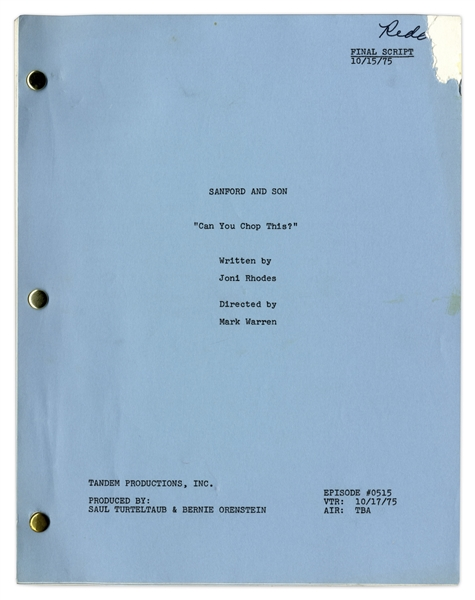 ''Sanford & Son'' Season 5, Episode 14 Final Draft Script Owned by Redd Foxx -- 45 Pages -- Very Good Condition -- From Redd Foxx Estate