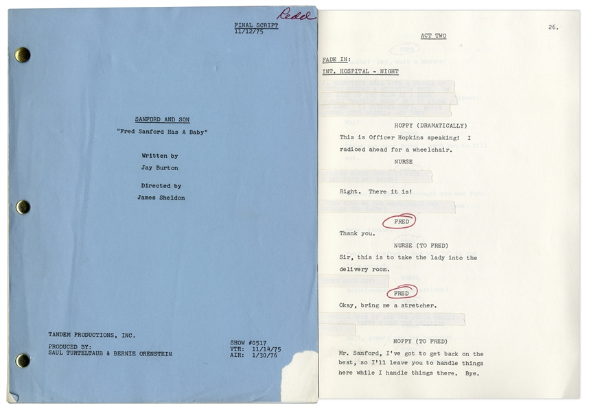 ''Sanford & Son'' Season 5, Episode 16 Final Draft Script Owned & Annotated by Redd Foxx -- 47 Pages -- Very Good Condition -- From Redd Foxx Estate