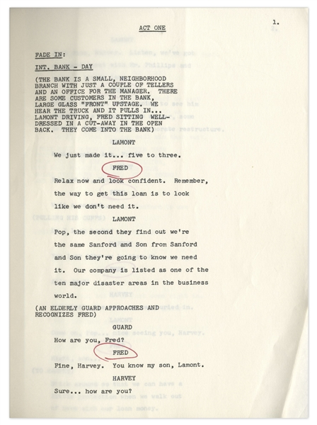 ''Sanford & Son'' Season 5, Episode 3, First Draft Script Owned & Annotated by Redd Foxx -- 35 Pages -- Very Good Condition -- From Redd Foxx Estate