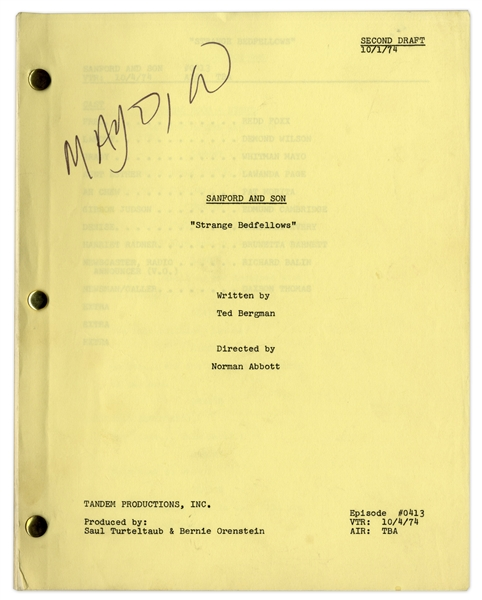 ''Sanford & Son'' Season 4, Episode 17, Second Draft Script Owned & Annotated by Redd Foxx -- 38 Pages -- Very Good Condition -- From Redd Foxx Estate