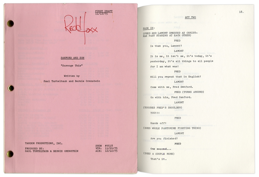 ''Sanford & Son'' Season 5, Episode 20, First Draft Script Owned by Redd Foxx -- With Original Title on Cover -- 40 Pages -- Near Fine Condition -- From Redd Foxx Estate