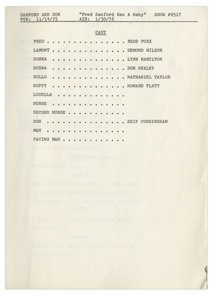 ''Sanford & Son'' Season 5, Episode 16, First Draft Script Owned & Annotated by Redd Foxx -- 36 Pages -- Very Good Condition -- From Redd Foxx Estate