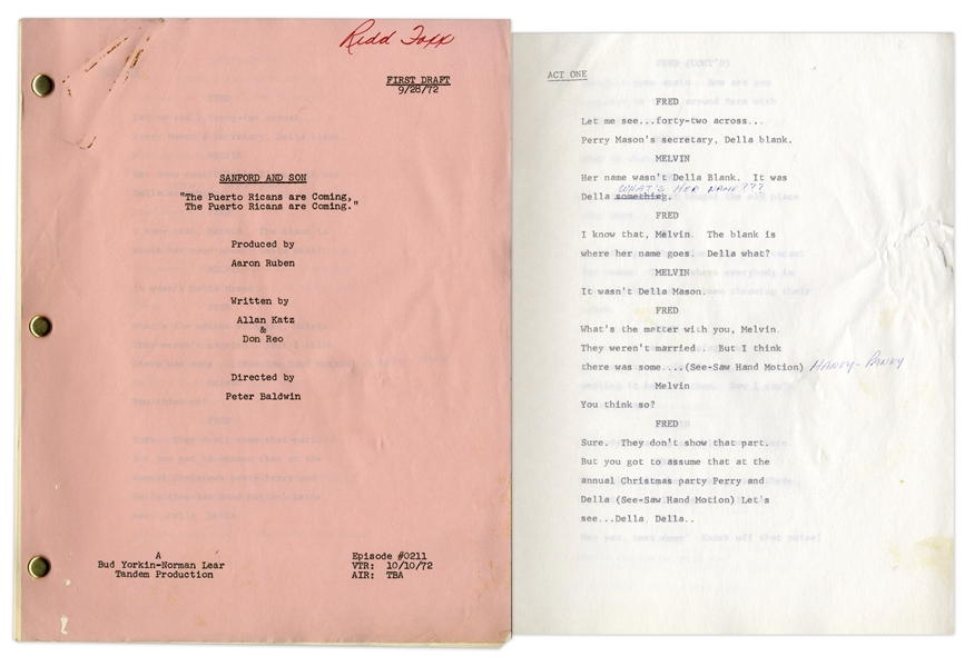 ''Sanford & Son'' Season 2, Episode 8, First Draft Script Owned & Annotated by Redd Foxx -- 36 Pages -- Very Good Condition -- From Redd Foxx Estate