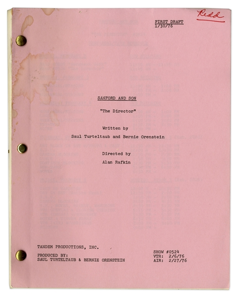 ''Sanford & Son'' Season 5, Episode 21, First Draft Script Owned & Annotated by Redd Foxx -- 39 Pages -- Very Good Condition -- From Redd Foxx Estate
