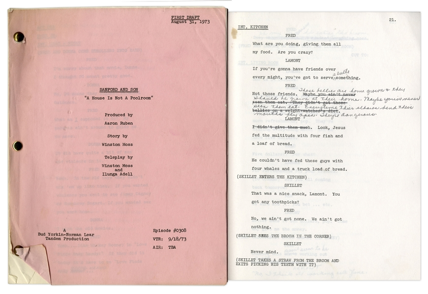 ''Sanford & Son'' Season 3, Episode 11 First Draft Script Owned & Annotated by Redd Foxx -- 36 Pages -- Very Good Condition -- From Redd Foxx Estate