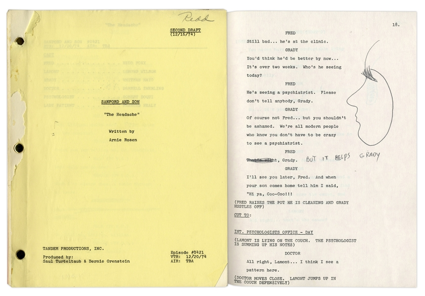 ''Sanford & Son'' Season 4, Episode 21, Second Draft Script Owned & Annotated by Redd Foxx -- 40 Pages -- Very Good Condition -- From Redd Foxx Estate