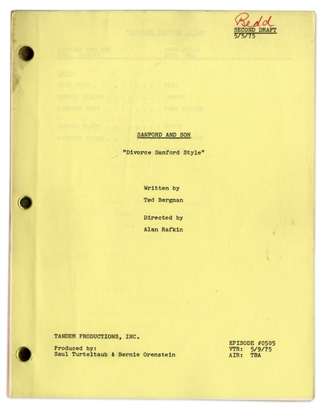 ''Sanford & Son'' Season 5, Episode 2, Second Draft Script Owned & Annotated by Redd Foxx -- 35 Pages -- Very Good Condition -- From Redd Foxx Estate