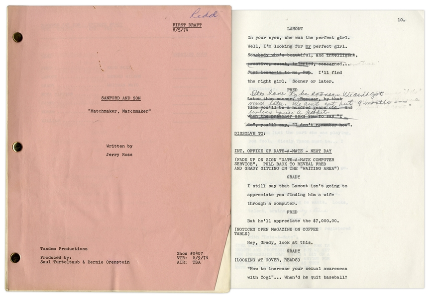 ''Sanford & Son'' Season 4, Episode 2, First Draft Script Owned & Annotated by Redd Foxx -- 39 Pages -- Very Good Condition -- From Redd Foxx Estate