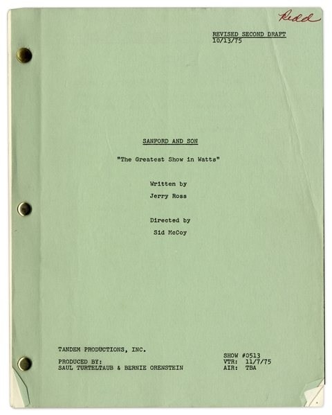''Sanford & Son'' Season 5, Episode 15, Revised Second Draft Script Owned & Annotated by Redd Foxx -- 40 Pages -- Very Good Condition -- From Redd Foxx Estate