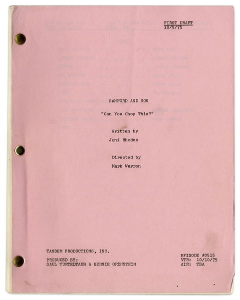 ''Sanford & Son'' Season 5, Episode 14, First Draft Script Owned & Annotated by Redd Foxx -- 37 Pages -- Very Good Condition -- From Redd Foxx Estate