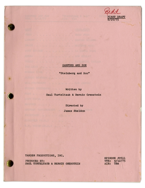 ''Sanford & Son'' Season 5, Episode 5, First Draft Script Owned & Annotated by Redd Foxx -- 40 Pages -- Very Good Condition -- From Redd Foxx Estate