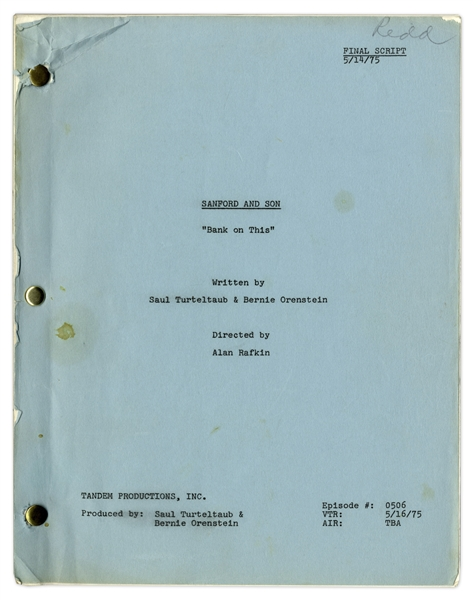 ''Sanford & Son'' Season 5, Episode 3, Final Draft Script Owned & Annotated by Redd Foxx -- 45 Pages -- Very Good Condition -- From Redd Foxx Estate
