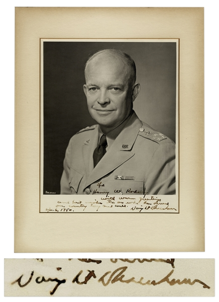 Dwight D. Eisenhower Signed 8 x 10 Military Photo -- Inscribed to His Secret Service Agent