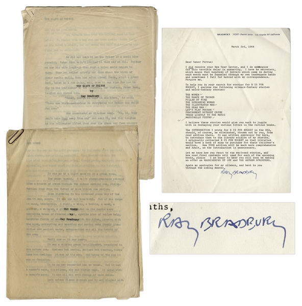 Ray Bradbury Original Typed Manuscripts for ''The Women'' and ''The Shape of Things'' -- Also With Letter Signed by Bradbury From 1964