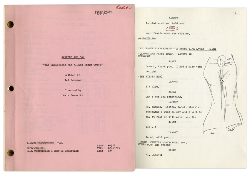 Redd Foxx's ''Sanford & Son'' Hand-Annotated Script -- First Draft of ''The Engagement Man Always Rings Twice'' Dated 11 December 1975 -- 38pp. -- From the Redd Foxx Estate