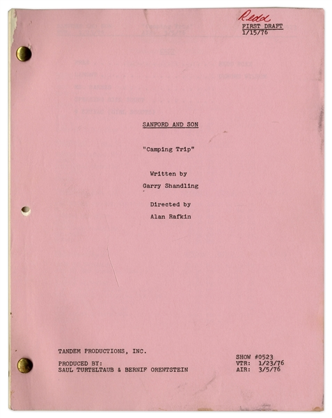 Redd Foxx's Hand-Edited ''Sanford & Son'' Script -- First Draft of ''The Camping Trip'' Dated 15 January 1976 -- 43pp. -- Very Good Condition -- From the Redd Foxx Estate