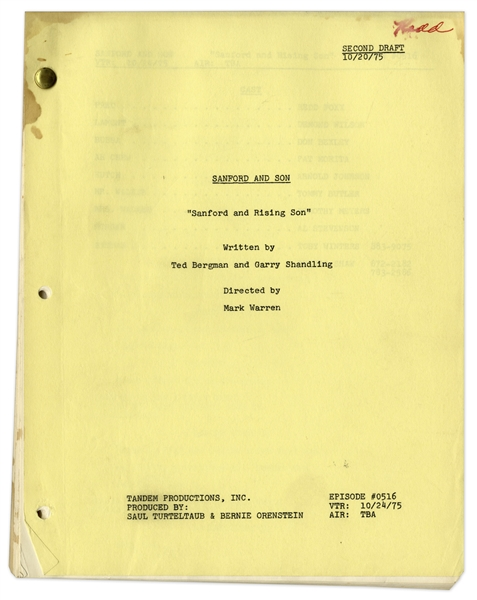 Redd Foxx's ''Sanford & Son'' Script -- 2nd Draft of ''Sanford and Rising Son'' Dated 20 October 1975 -- 40pp. -- Very Good Condition -- From Redd Foxx Estate