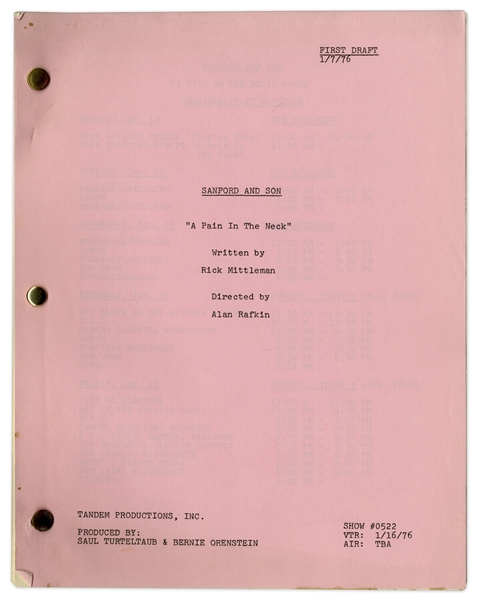''Sanford & Son'' Season 5, Episode 22, First Draft Script Owned by Redd Foxx -- 34 Pages -- Near Fine Condition -- From Redd Foxx Estate