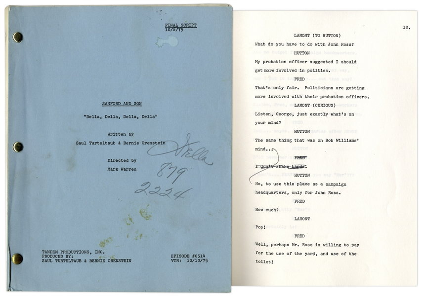 ''Sanford & Son'' Season 5, Episode 7, Final Draft Script Owned & Annotated by Redd Foxx -- 41 Pages -- Very Good Condition -- From Redd Foxx Estate
