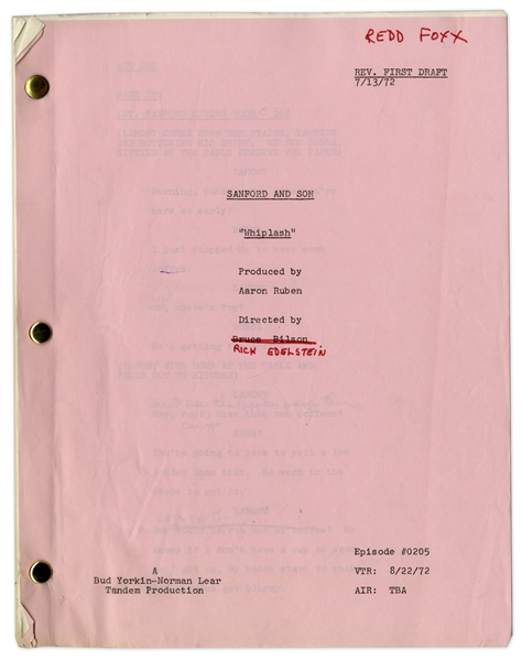 ''Sanford & Son'' Season 2, Episode 2, Revised First Draft Script Owned & Annotated by Redd Foxx -- 41 Pages -- Very Good Condition -- From Redd Foxx Estate