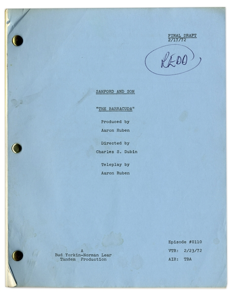 ''Sanford & Son'' Season 1, Episode 10, Final Draft Script Owned & Annotated by Redd Foxx -- 44 Pages -- Very Good Condition -- From Redd Foxx Estate