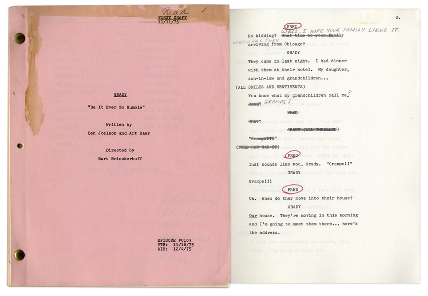 Series Premiere First Draft Script of ''Stanford & Son'' Spin-off Show, ''Grady'' -- Owned & Annotated by Redd Foxx Who Made Guest Appearance -- Very Good Condition -- From Redd Foxx Estate