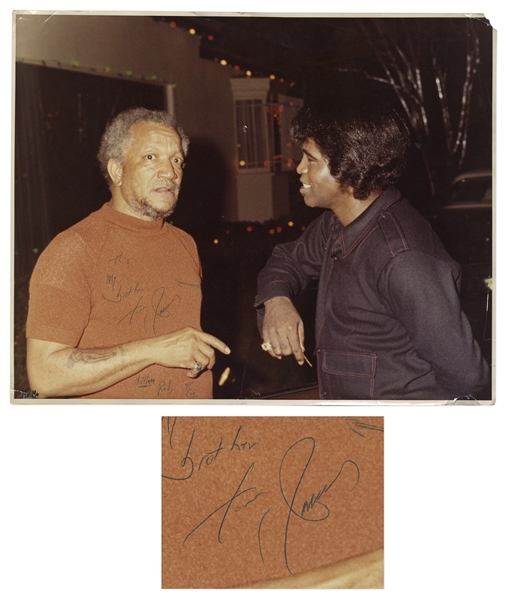 James Brown Signed Photo to Redd Foxx -- Brown Writes ''This my brother / from James / Killem Red, you can'' -- 20'' x 16'' -- Chips to Corners, Very Good Condition -- From Redd Foxx Estate