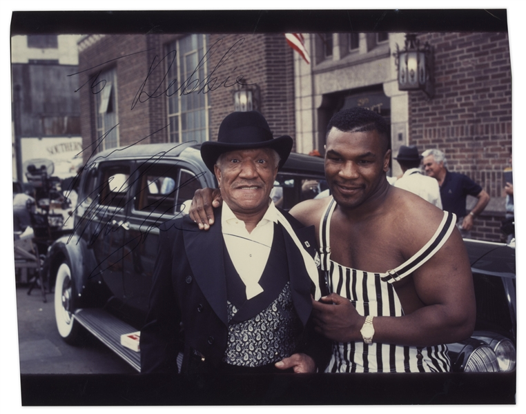Mike Tyson Signed Photo With Redd Foxx on Set of ''Harlem Nights'' in 1989 -- Inscribed to Foxx's Daughter Debbie -- 10'' x 8'' -- Very Good Condition -- From Redd Foxx Estate