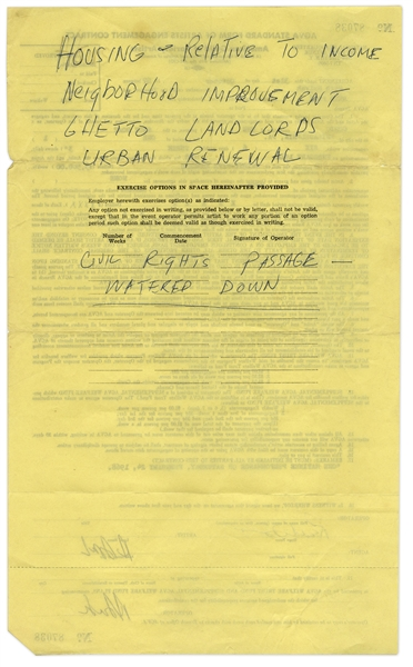 Lot of 4 Contracts Signed by Redd Foxx From Early in His Career, With Handwritten Notes Reading ''GHETTO LANDLORDS'' and ''CIVIL RIGHTS PASSAGE - WATERED DOWN''