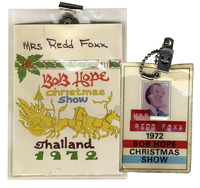 1972 Bob Hope Christmas Show ID Badges for Mrs. Redd Foxx -- From Hope's 9th and Final Overseas USO Tour -- 2.5'' x 3.75'' and 4'' x 5.75'' -- Very Good Condition -- From Redd Foxx Estate