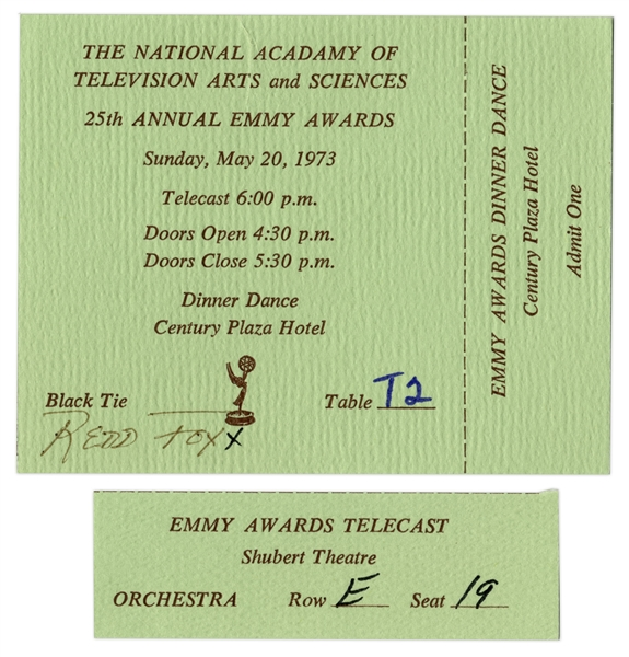 Redd Foxx of ''Sanford & Son'' Ticket Stub to 1973 Emmys & Full Ticket to Dinner Dance, With Envelope -- Full Ticket Measures 4'' x 3'' -- Very Good Condition -- From Redd Foxx Estate