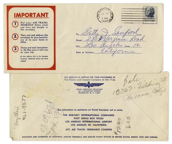 Redd Foxx of ''Sanford & Son'' Signed Airline Trip Insurance Policy From 1963 -- 8.5'' x 13'' -- Near Fine Condition -- From Redd Foxx Estate