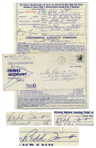 Redd Foxx of ''Sanford & Son'' Signed Airline Trip Insurance Policy From 1963 -- 8.5'' x 11'' -- Near Fine Condition -- From Redd Foxx Estate